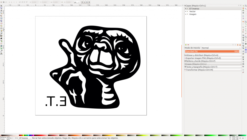 ET vectorizado en Inkscape inverso