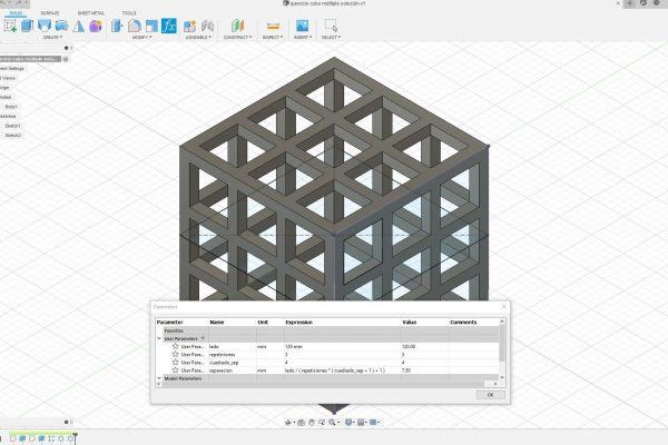 Cubo parámetros múltiples Fusion 360