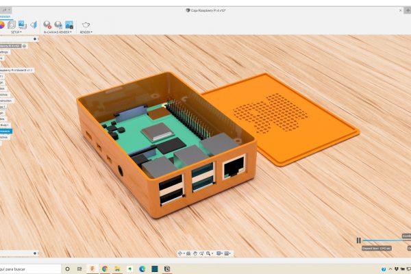 urso Fusion 360 - Caja Raspberry Pi 4 abierta