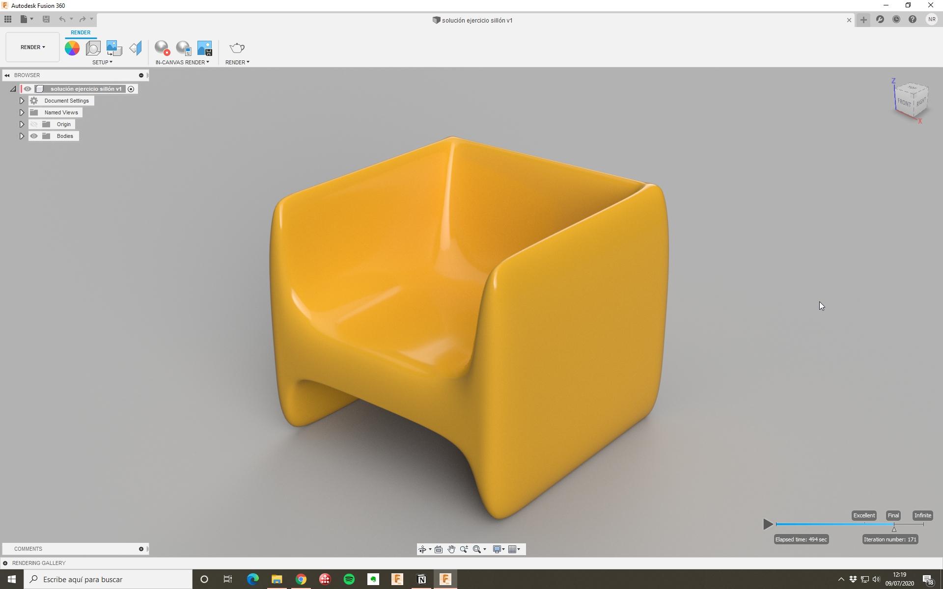 Sofá en Fusion 360 con Form
