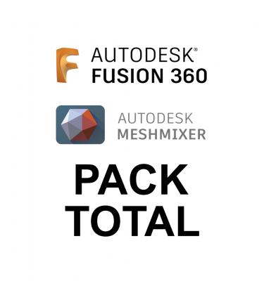 carátula Pack Total Fusion 360 niveles 1 y 2 y Meshmixer